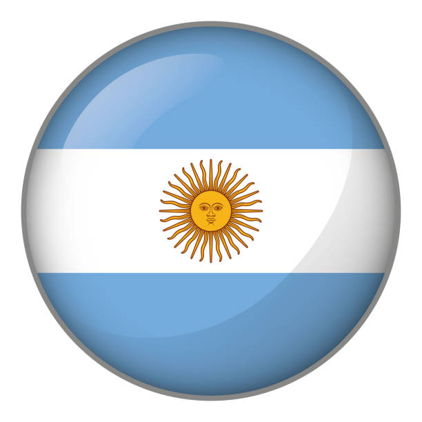 illustrations, cliparts, dessins animés et icônes de icône représentant le drapeau de l'argentine de bouton. idéal pour les catalogues de documents institutionnels et de la géographie - argentine