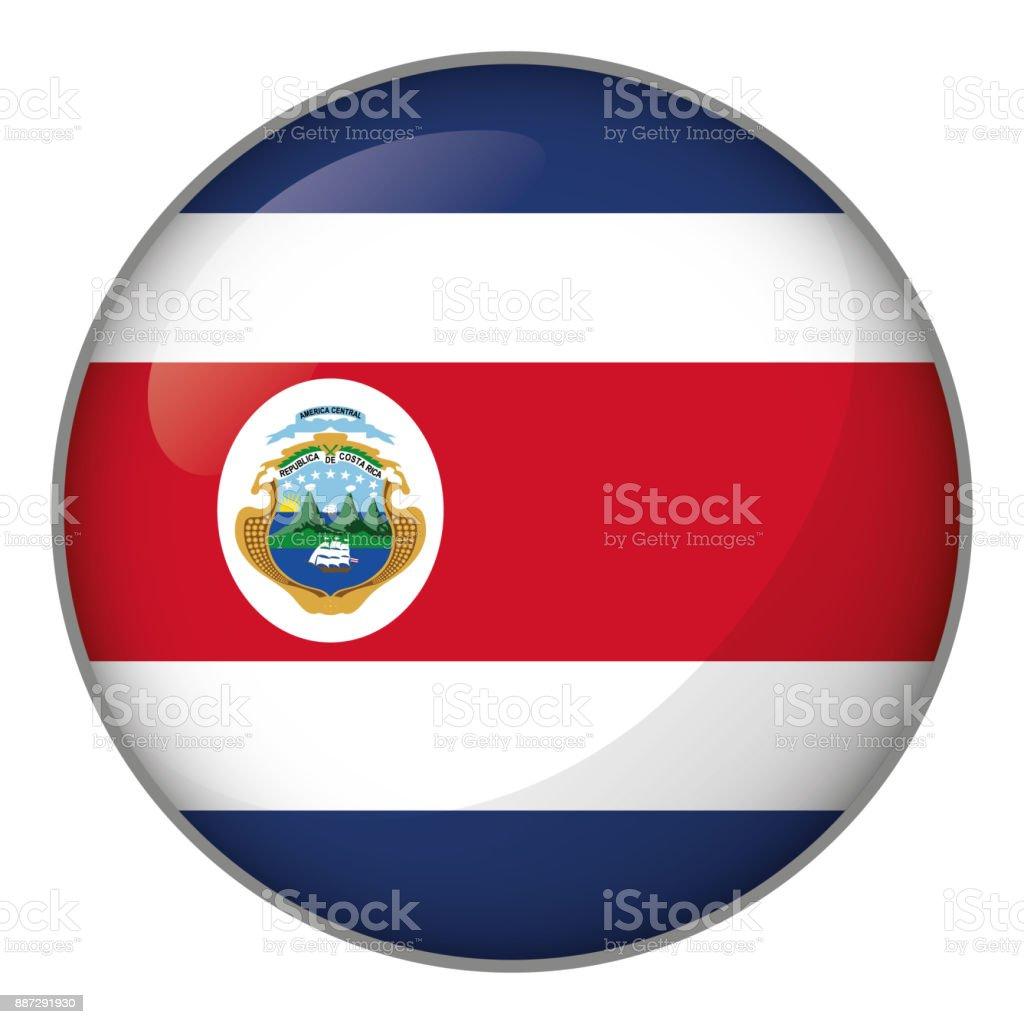 Ícone representando a bandeira do botão da Costa Rica. Ideal para catálogos de materiais institucionais e Geografia - ilustração de arte em vetor