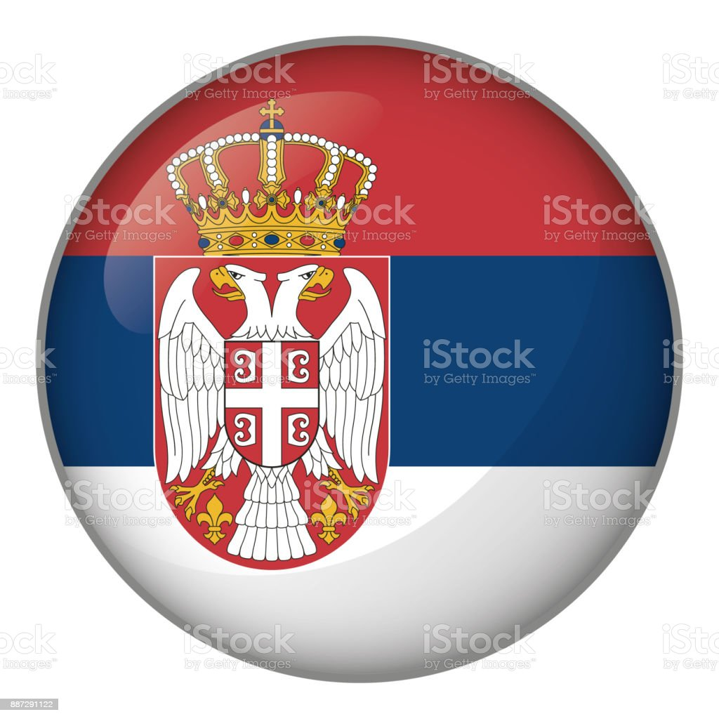 Icon representing button flag of Serbia. Ideal for catalogs of institutional materials and geography vector art illustration