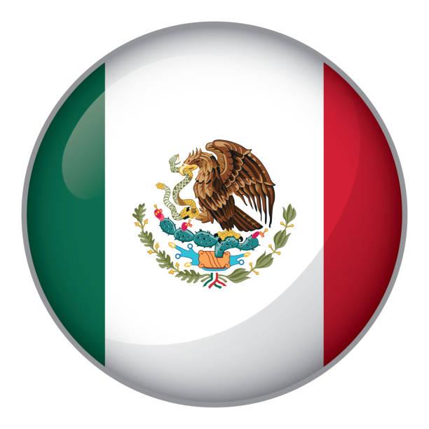 Ícone representando a bandeira do México de botão. Ideal para catálogos de materiais institucionais e Geografia - ilustração de arte em vetor