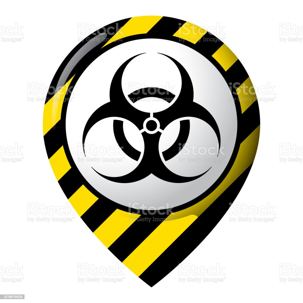 Icon representing location of biological risk, product location and chemical, biological and infectious debris. Ideal for catalogs of institutional materials vector art illustration