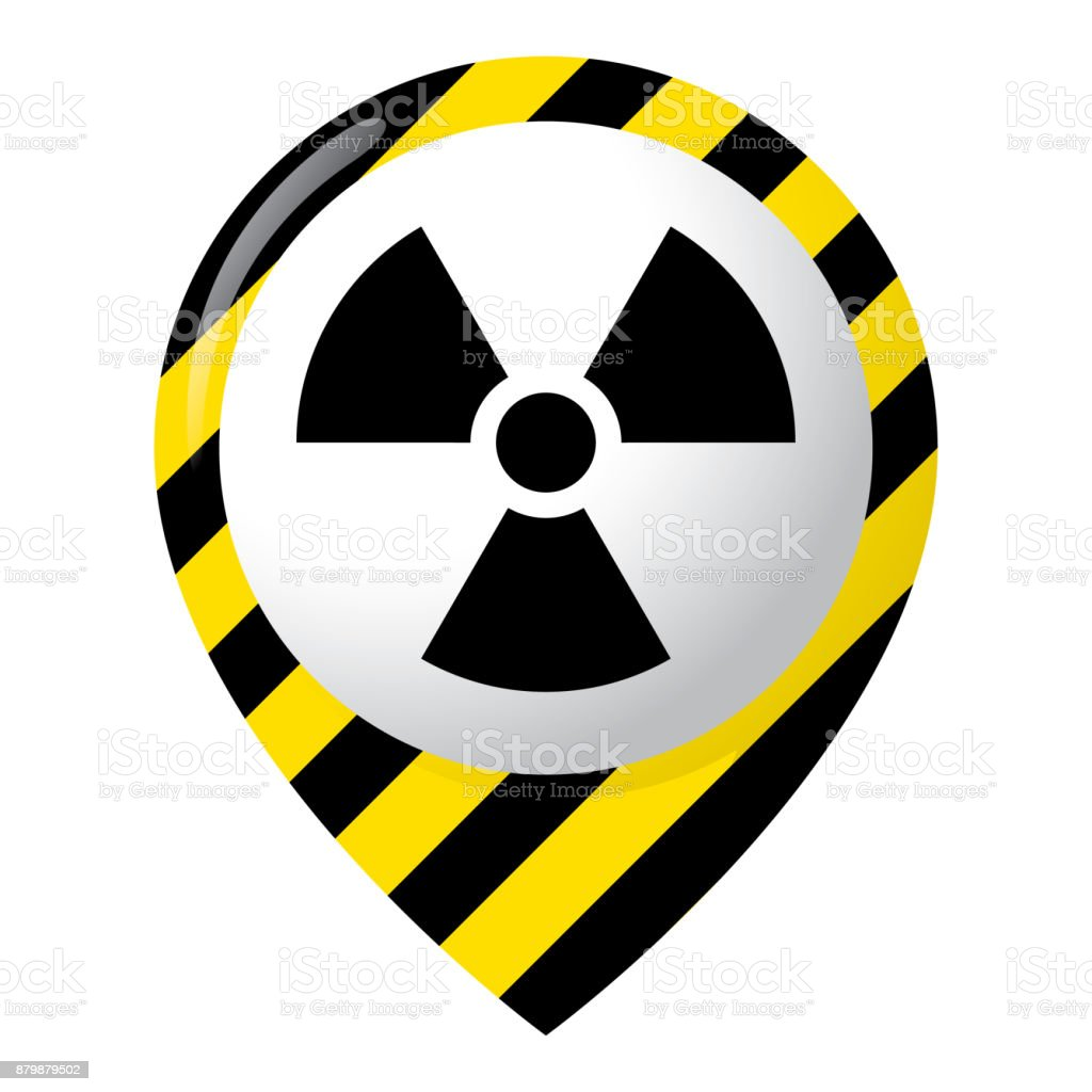 Icon representing radiation location, product location and radioactive debris. Ideal for catalogs of institutional materials vector art illustration