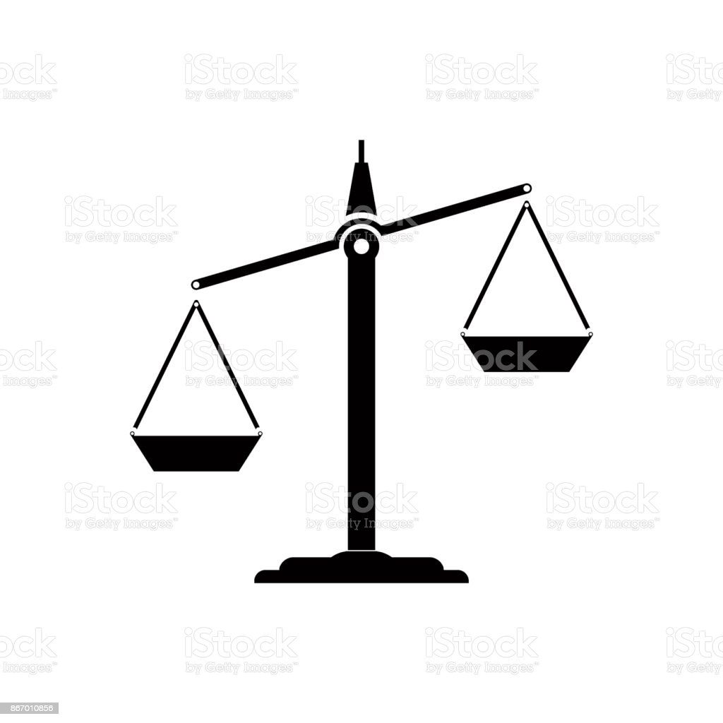 Icon scales sign of balance vector art illustration