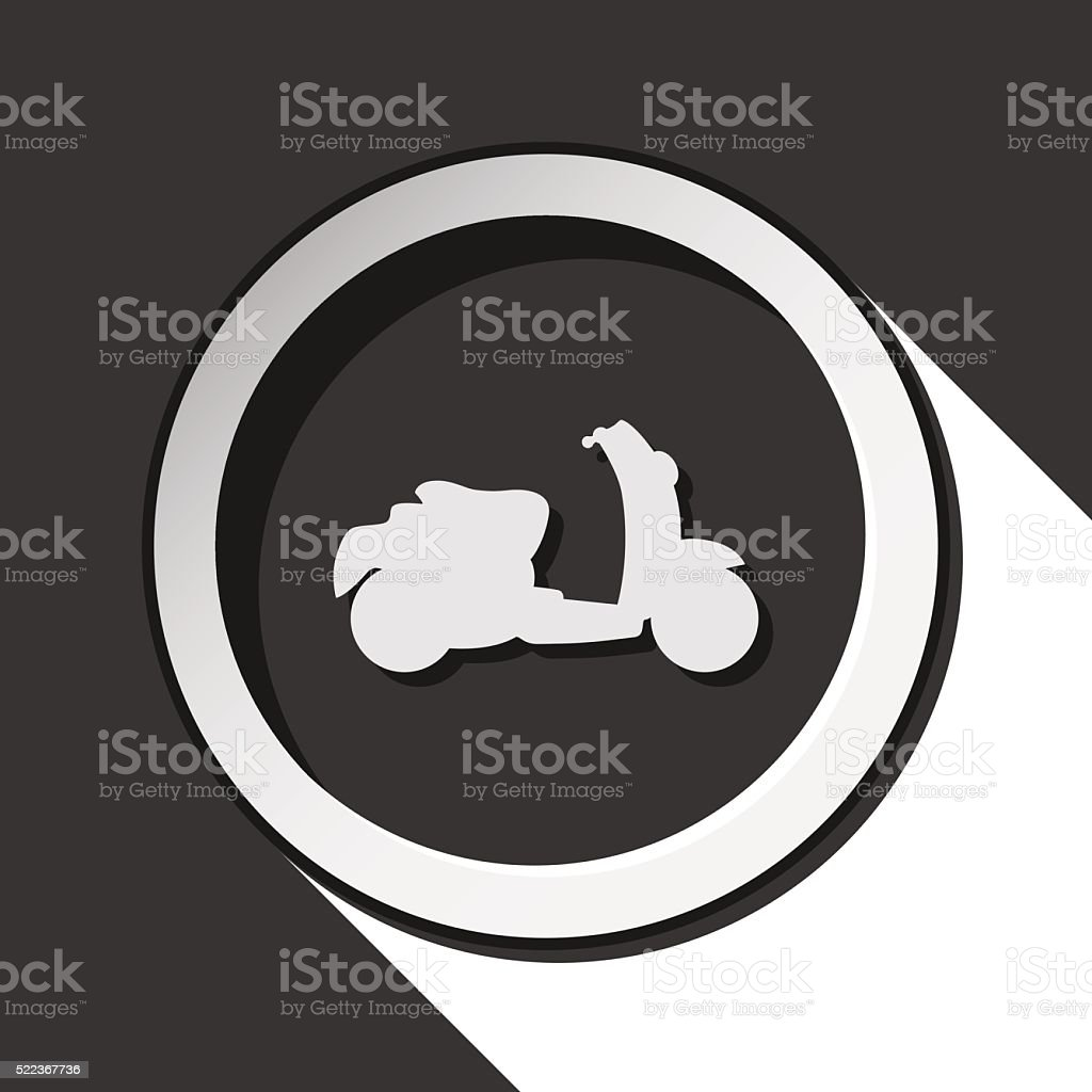 icon - scooter with shadow vector art illustration