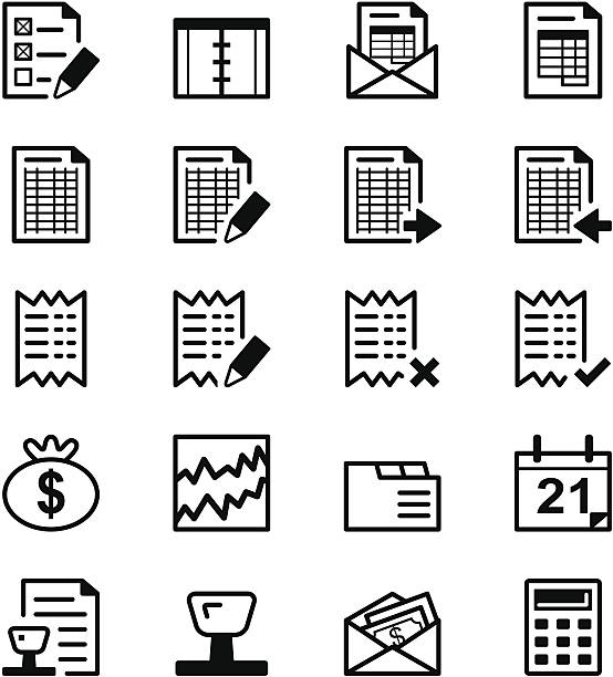 Icon series - Audit & Accounting Files included: accounting ledger stock illustrations