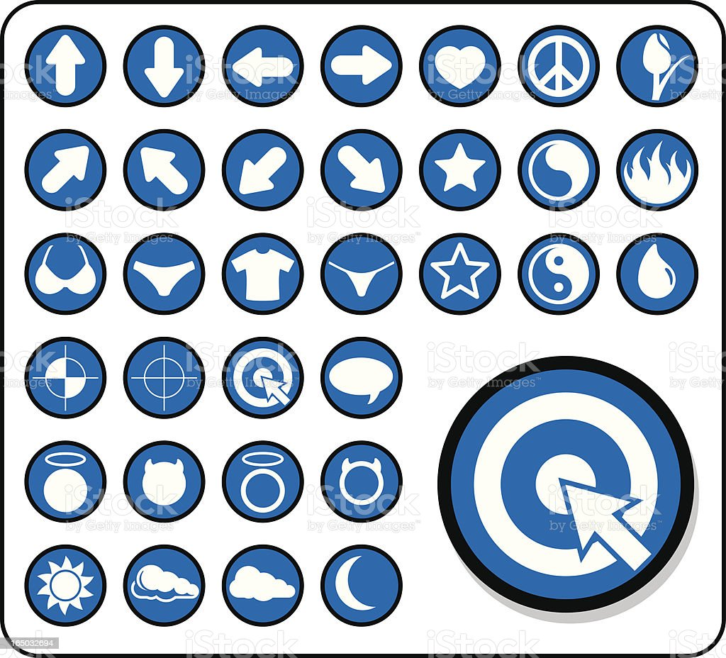 Icon Set 1 - V1 (vector and raster) royalty-free stock vector art
