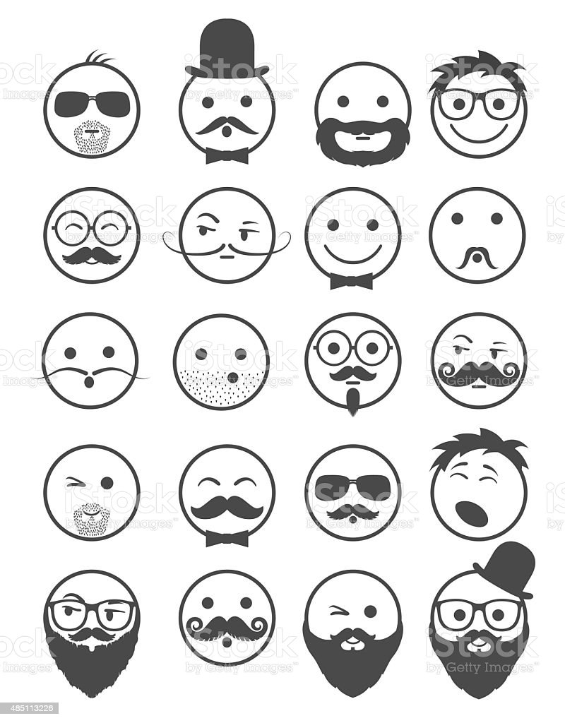 icon set 20 man`s faces black and white vector art illustration