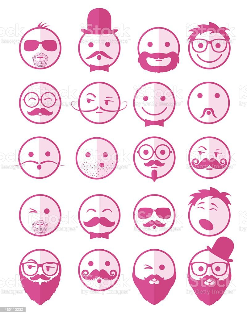icon set 20 man`s faces pink half vector art illustration