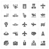 Icon set - airplane and airport filled icon style vector illustration on white background