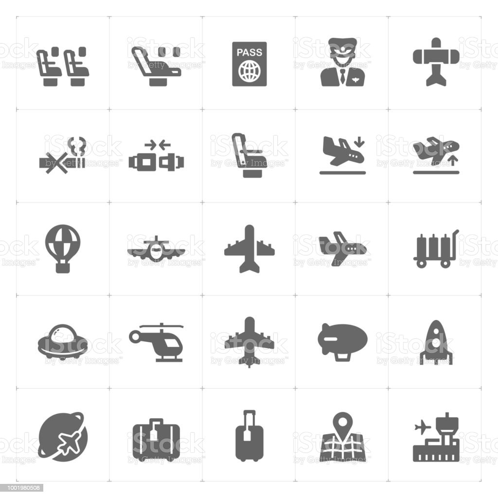 Icon set - airplane and airport filled icon style vector illustration on white background vector art illustration