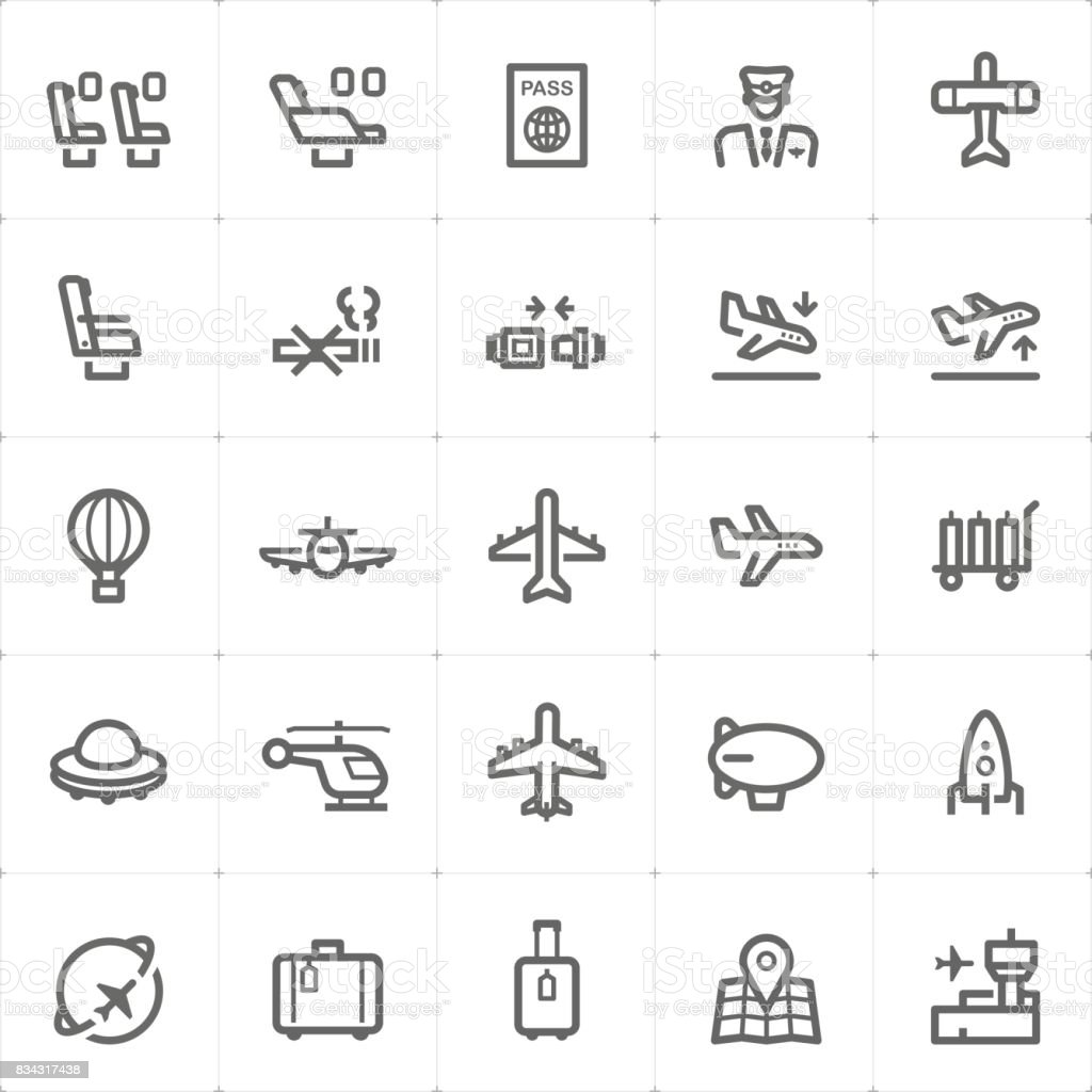 Icon set – airplane and airport vector illustration vector art illustration