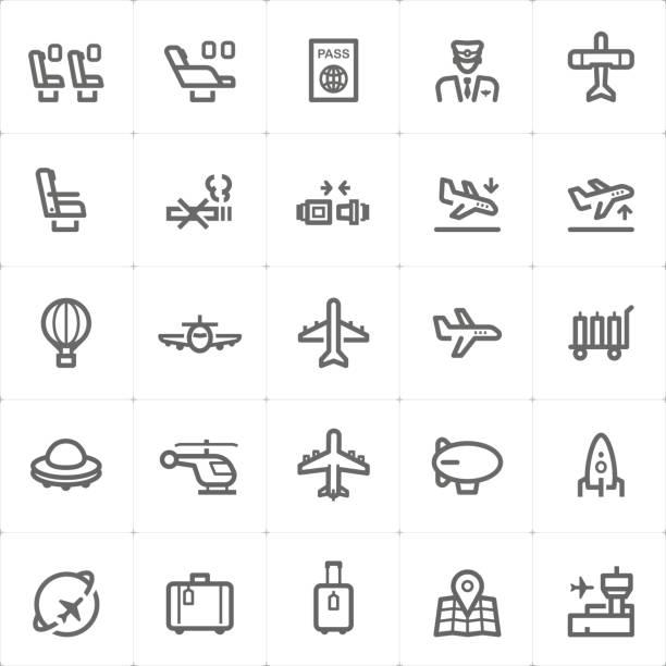 Icon-set Flugzeug und Flughafen Vektor-Illustration – Vektorgrafik