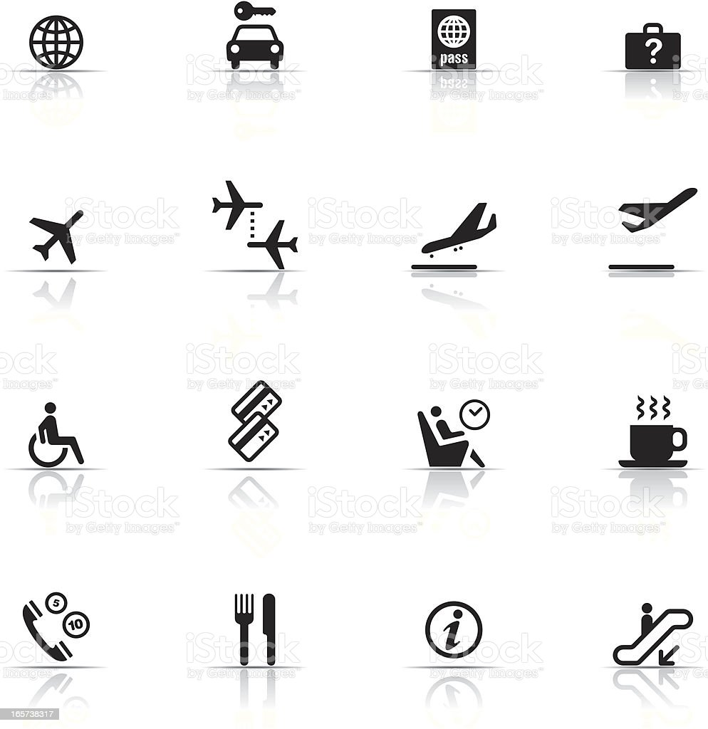 Icon Set, Airport items vector art illustration
