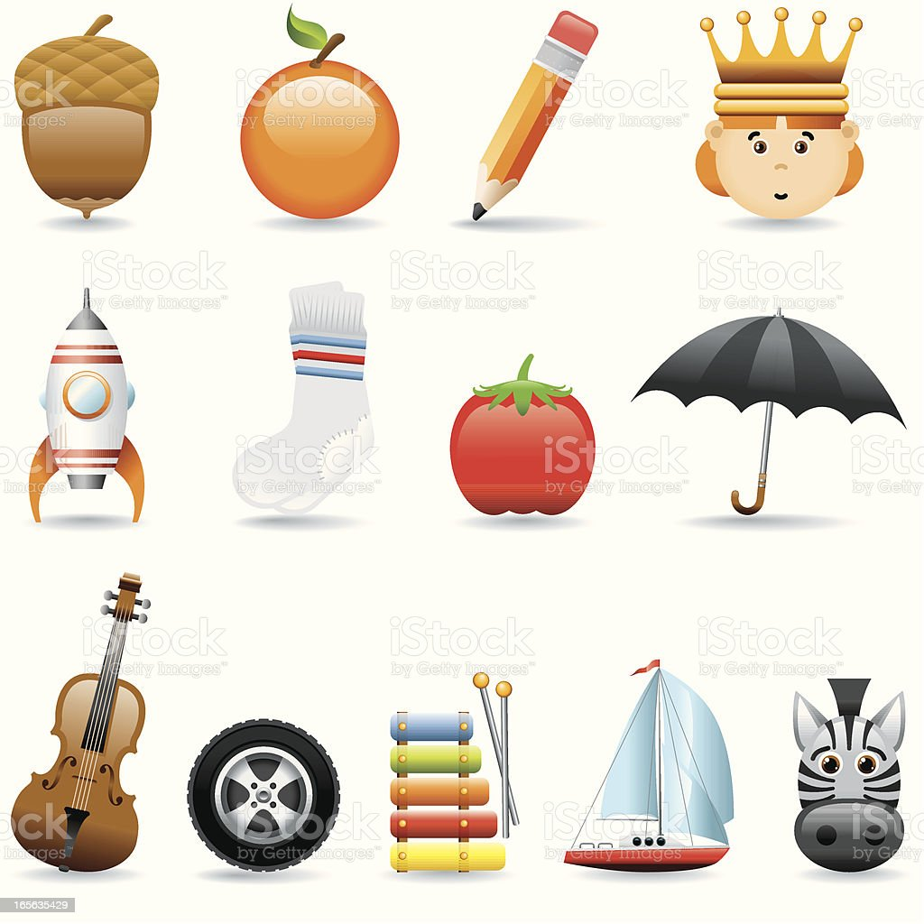 Icon Set, Alphabet (A-M) royalty-free stock vector art