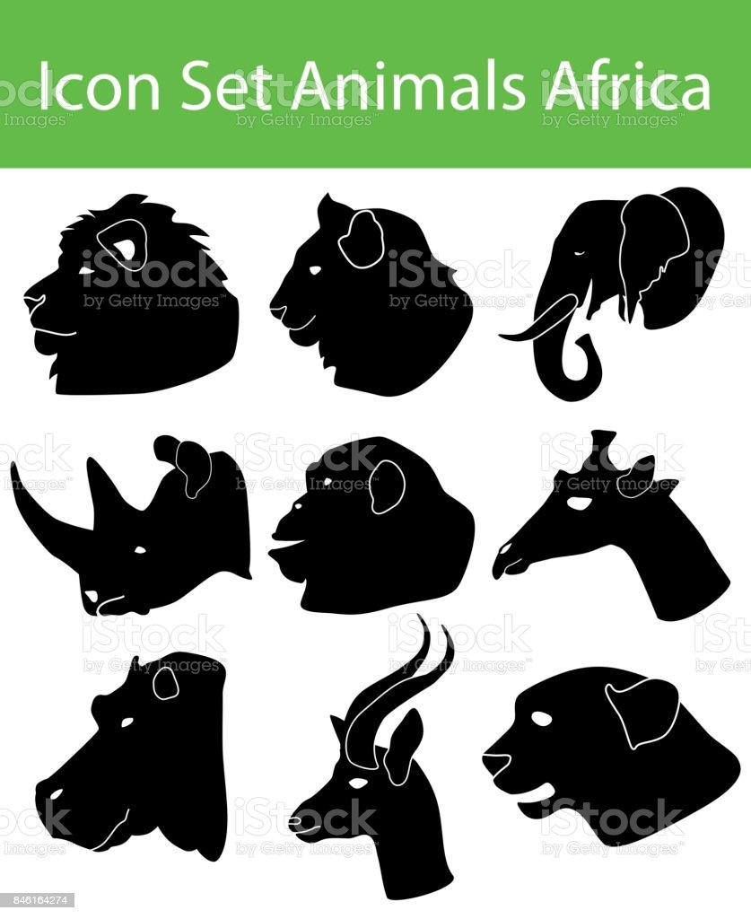 Icon Set Animals Africa vector art illustration