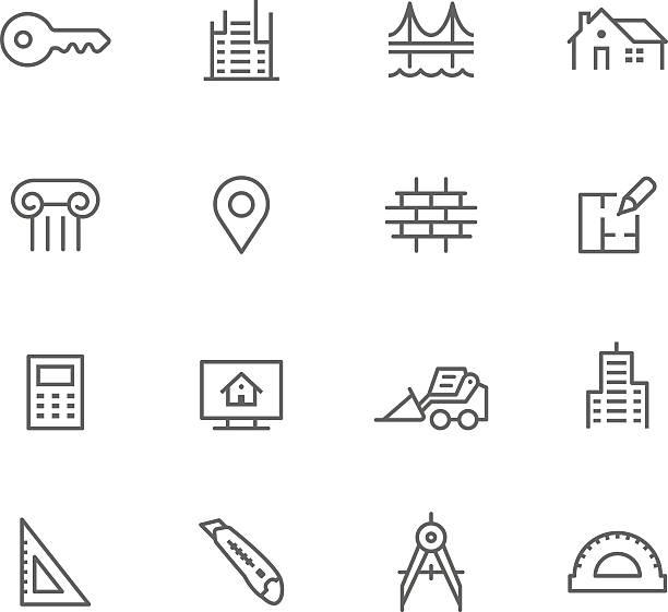 Icon Set, Architecture vector art illustration