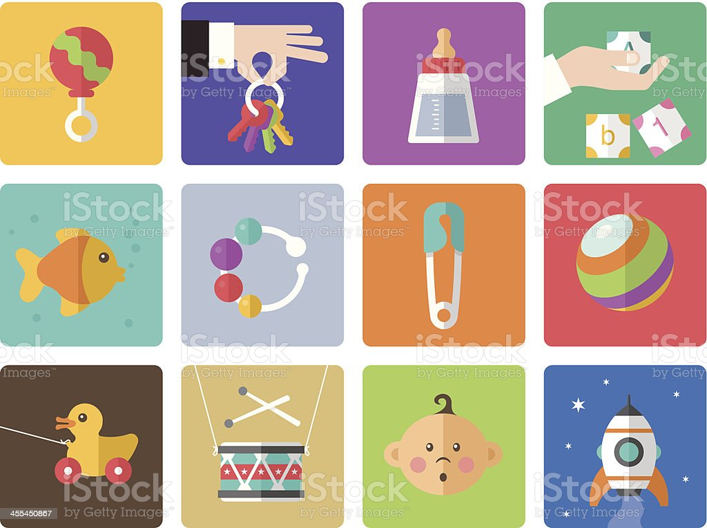 Icon set, Babies vector art illustration