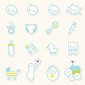 &lightboxICute web 2.0 style vector icons of baby emoticons and related objects.
