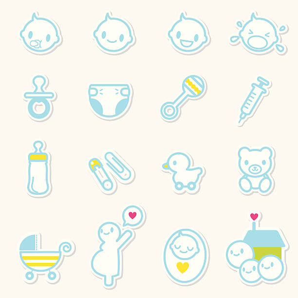 Icon set - Baby Care and family love vector art illustration
