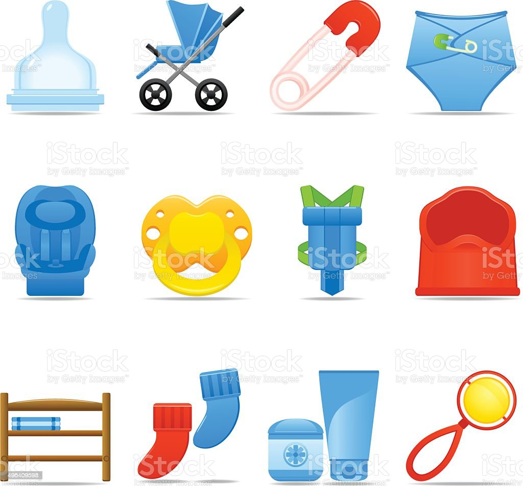 Icon Set Baby Care vector art illustration