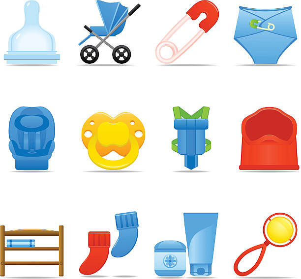 icon set baby pflege - wickeltisch stock-grafiken, -clipart, -cartoons und -symbole