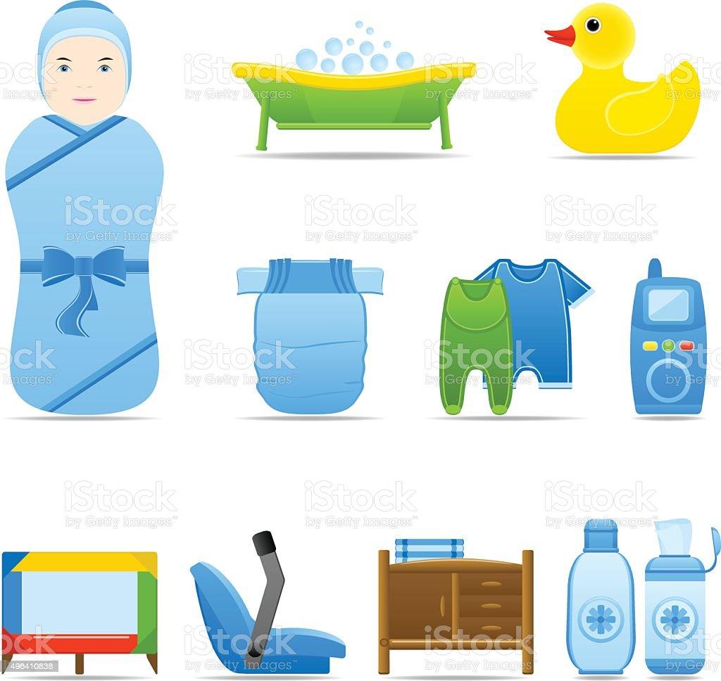 Icon Set Baby Care vector art illustration