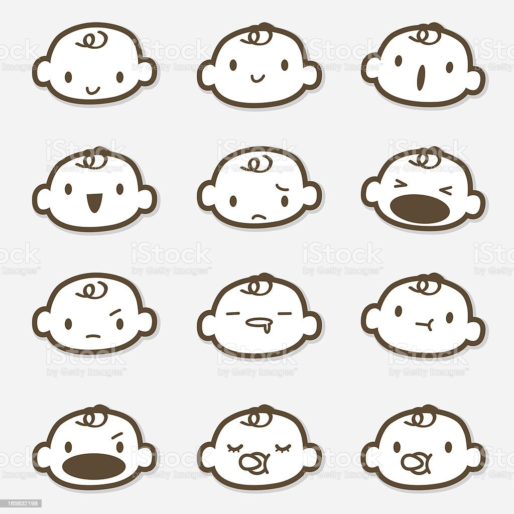 Icon Set - Baby Face ( Emoticons ) vector art illustration