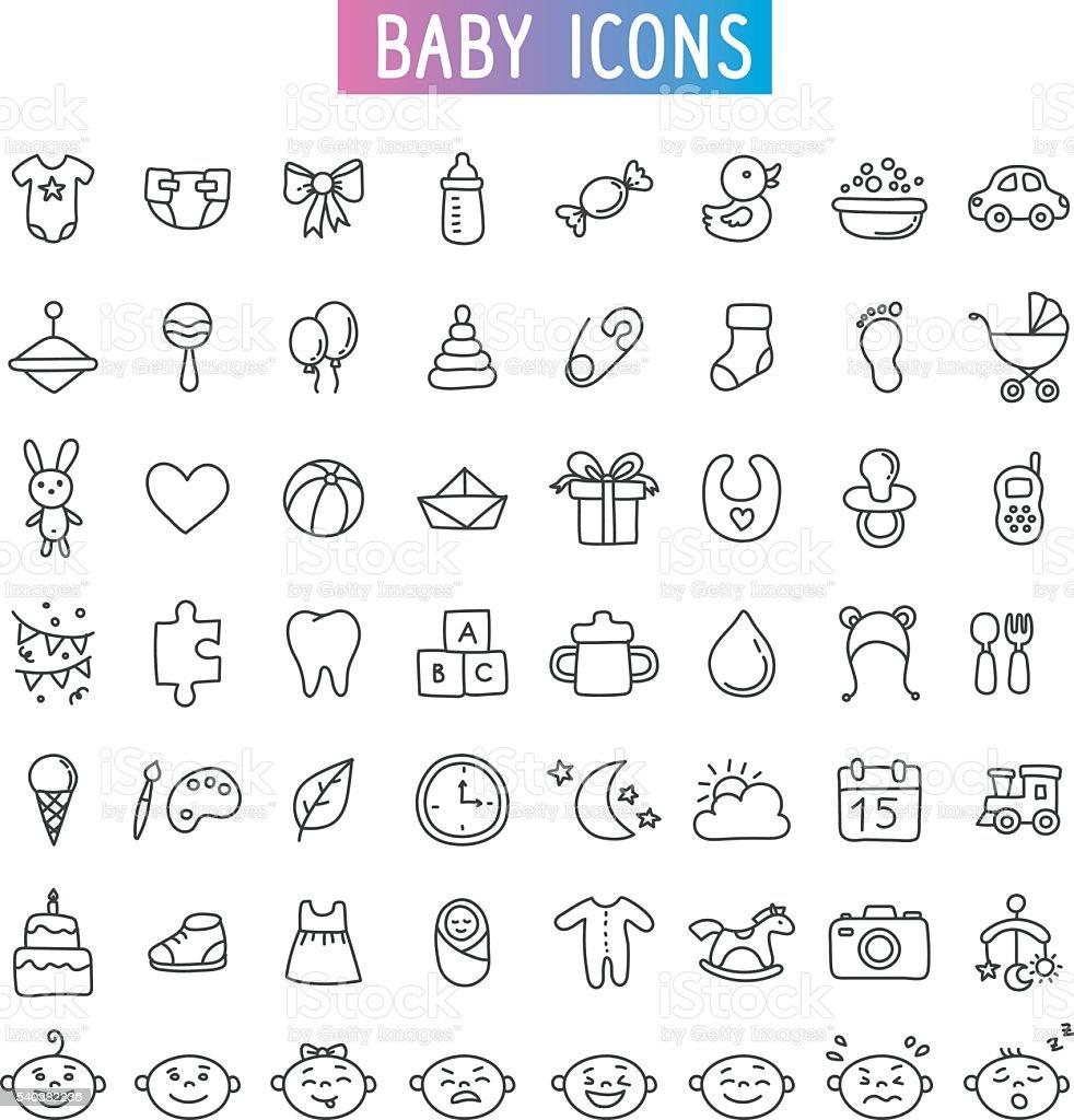 Groupe d'icônes. Bébé, des jouets et des émotions - Illustration vectorielle