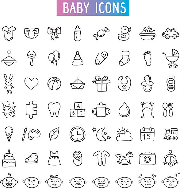 icon set. Baby, toys and emotions  icon set. Baby, toys and emotions. doodle baby clothing stock illustrations