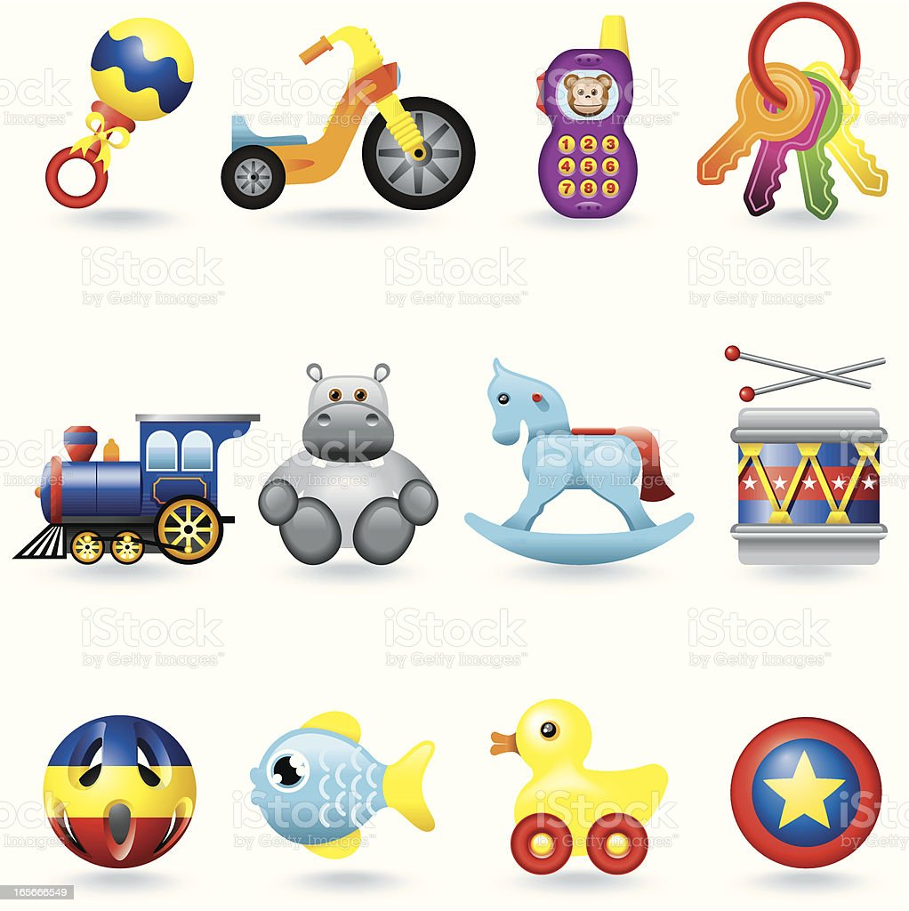 Icon set, Baby Toys vector art illustration