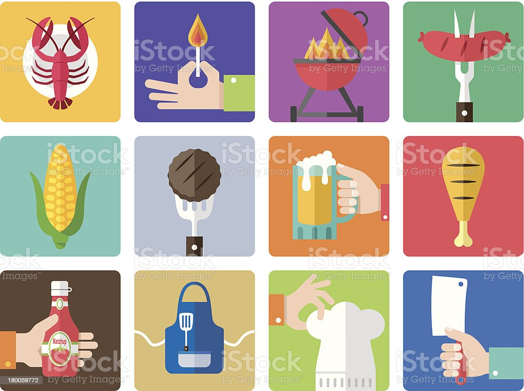 Icon Set, Barbecue Grill vector art illustration