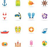 Icon Set, Beach and vacations
