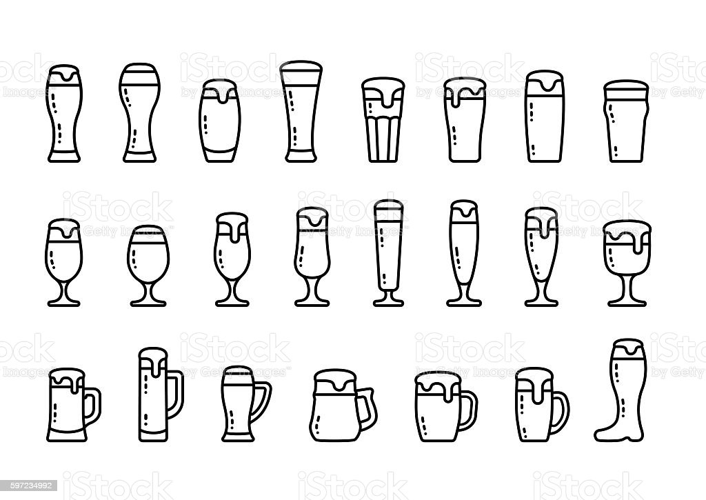 Icon set beer with foam in beer mugs and glasses vector art illustration