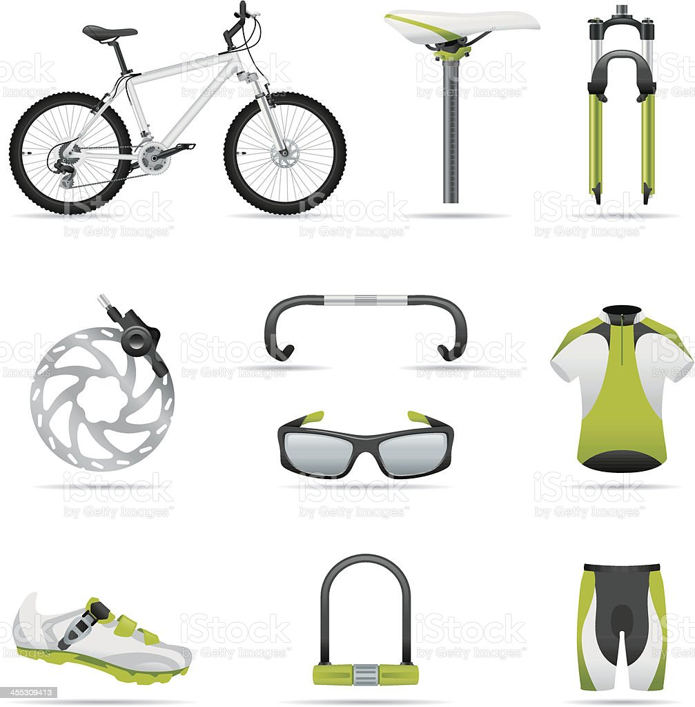 Icon set, bike 01 (great detail) vector art illustration