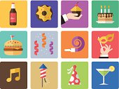 Icon Set, Birthday and celebrations on white background, made in adobe Illustrator (vector)