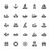 Icon set - boat and ship filled icon style vector illustration on white background