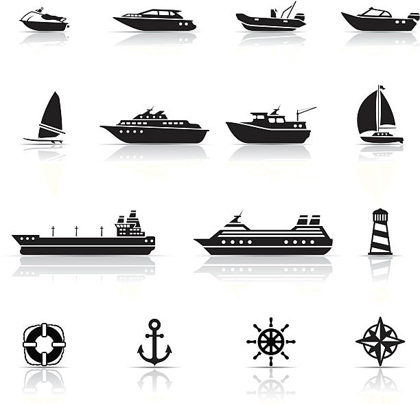 bildbanksillustrationer, clip art samt tecknat material och ikoner med icon set, boats and ships - ship