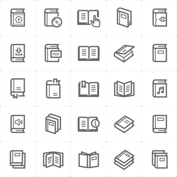Icon set - book outline stroke vector illustration vector art illustration