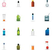 Icon Set, a lot of Bottles and Containers on white background, made in adobe Illustrator (vector)