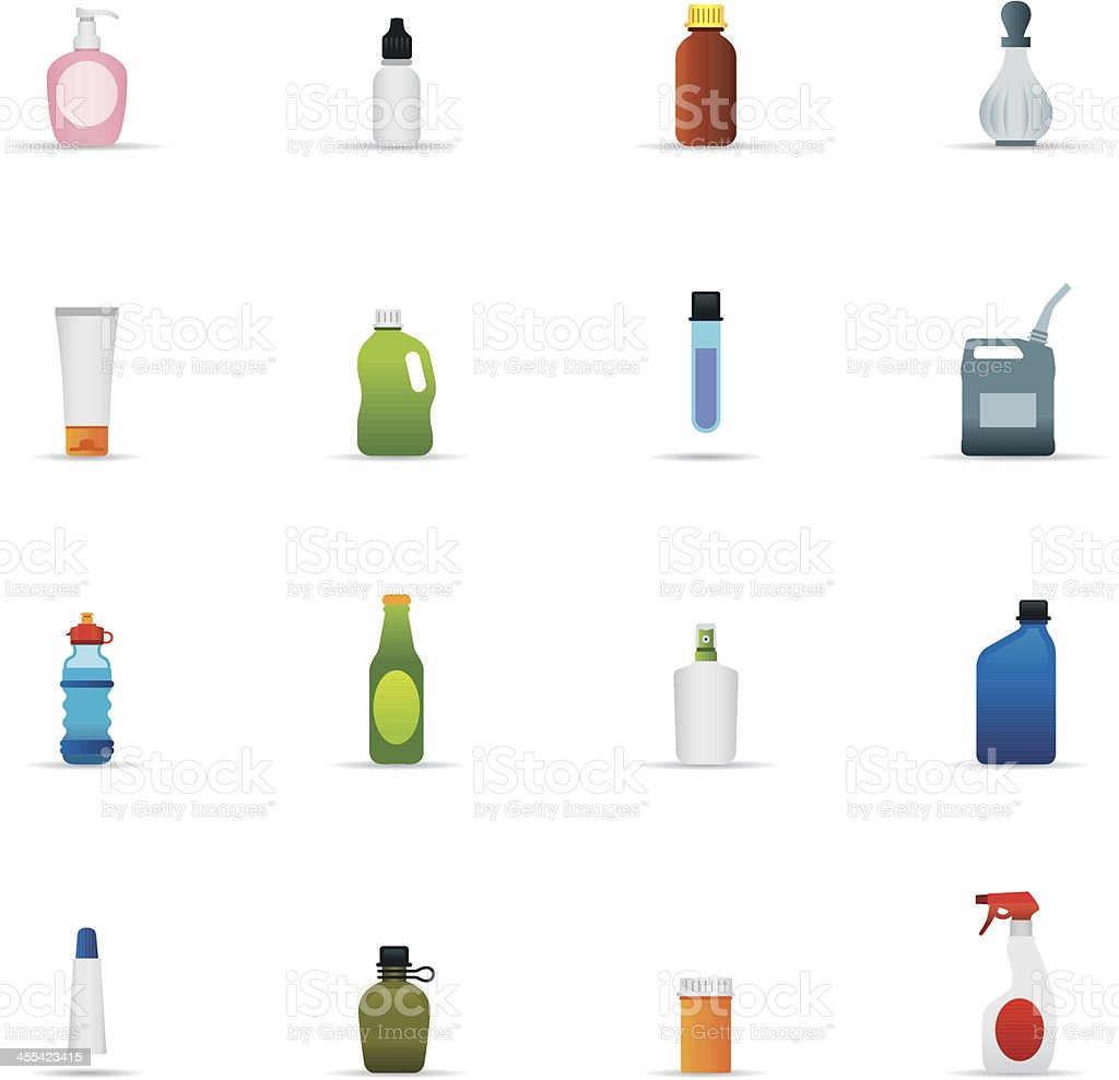 Icon Set, Bottles and Containers Color vector art illustration