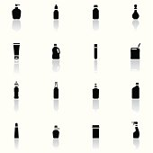 Icon Set, a lot of Bottles and Containers on white background, make in adobe Illustrator (vector)