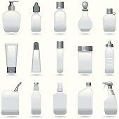 Icon Set, a lot of bottles on white background, make in adobe Illustrator (vector)