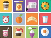 Icon Set, breakfast on white background, made in adobe Illustrator (vector)