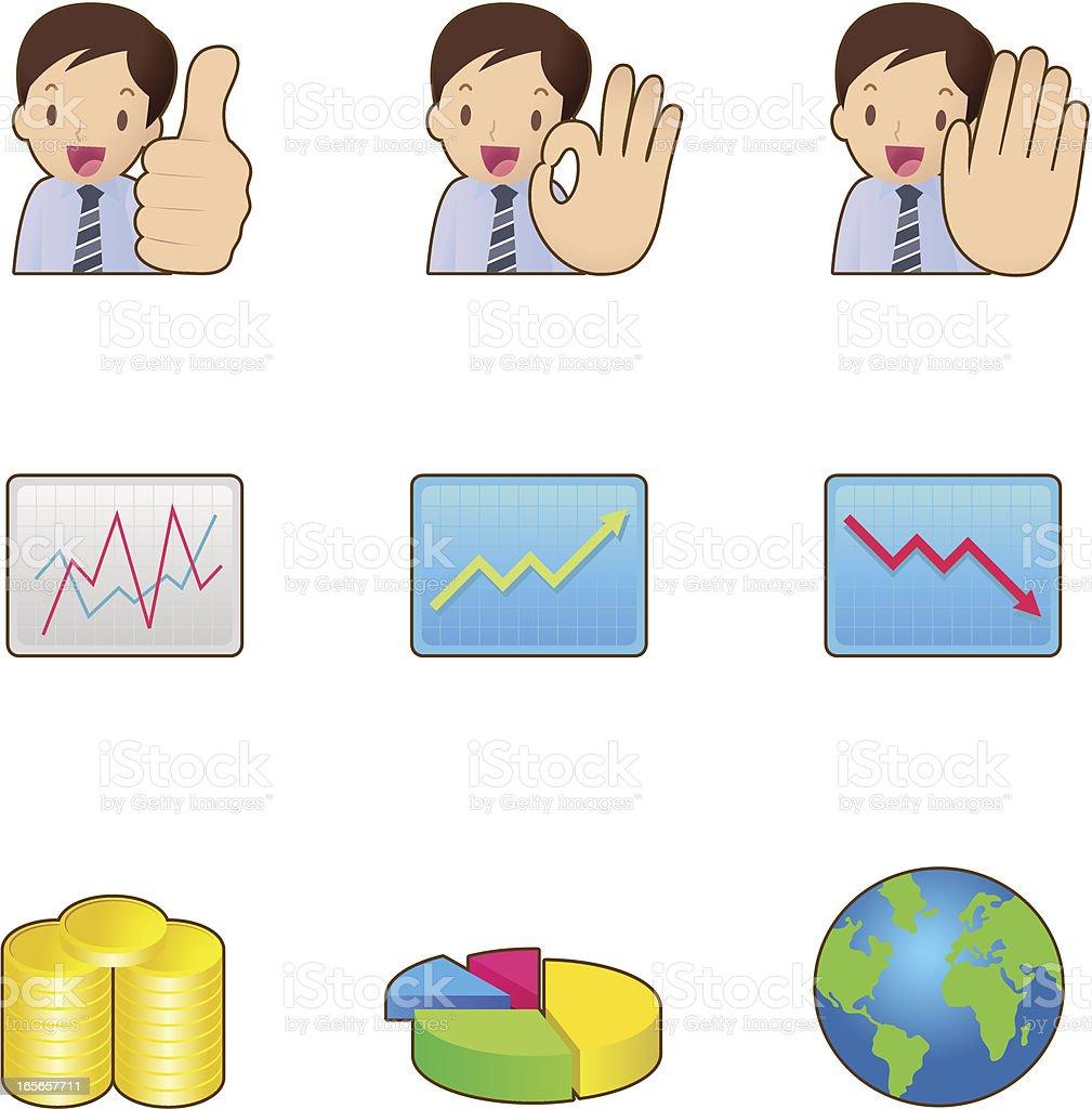 Icon-Set-Business & Finanzen, Geschäftsmann, Gestikulieren – Vektorgrafik