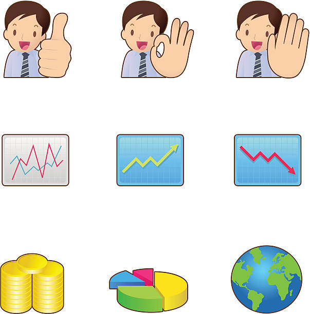 Icon Set - Business & Finance, Businessman, Gesturing vector art illustration