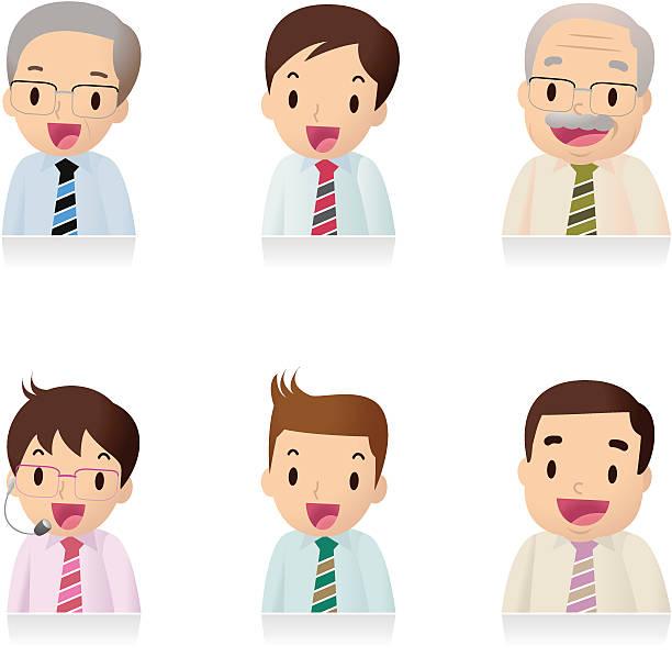 icon set ( emoticons ) - businessman , office worker, teacher - old man face cartoon stock illustrations, clip art, cartoons, & icons