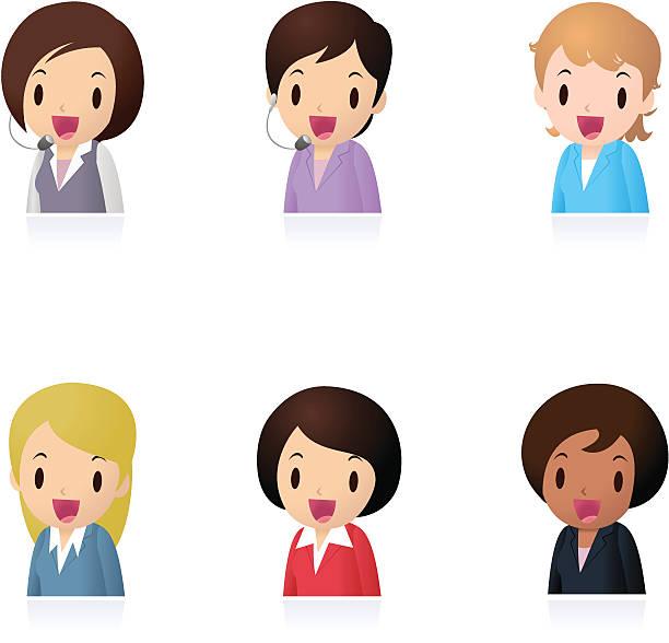 アイコンセット(emoticons )-businesswomen 、事務員、教師 - 興奮の絵文字点のイラスト素材/クリップアート素材/マンガ素材/アイコン素材