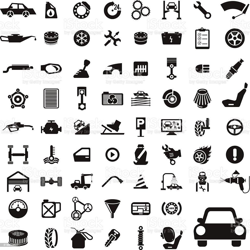 Icon Set Car Service vector art illustration
