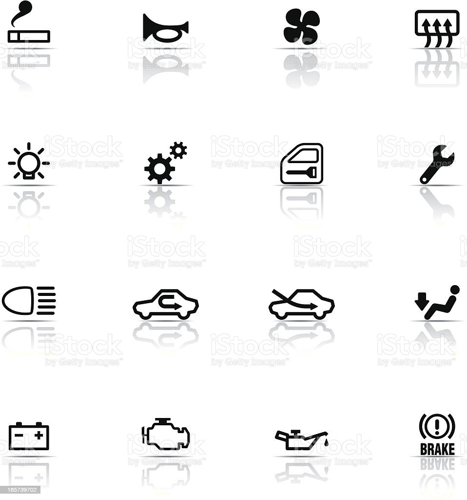 Icon Set, car symbols vector art illustration