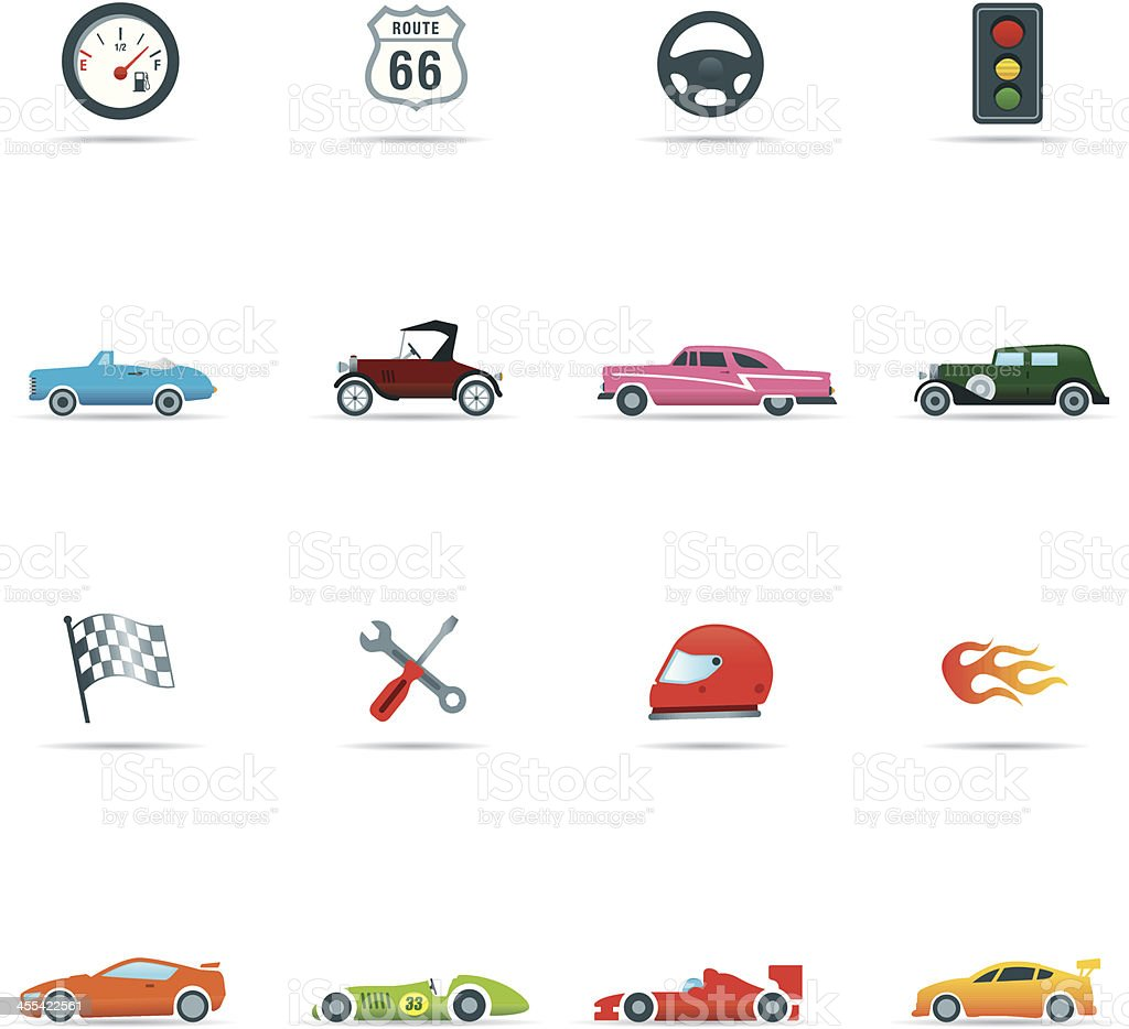 Icon set, Cars and Mechanics Color royalty-free stock vector art